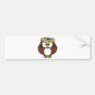Owl Bird Feather Flowers Personalize Name Custom Bumper Sticker