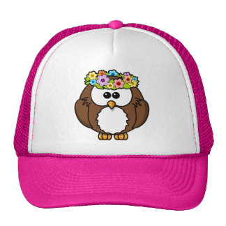 Owl Bird Feather Flowers Personalize Name Custom Mesh Hat