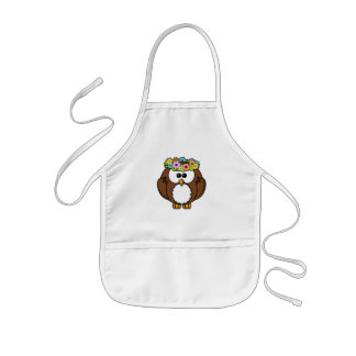 Owl Bird Feather Flowers Personalize Name Custom Kids' Apron