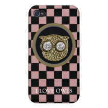 owl bird jewel and checkers iPhone 4 cover