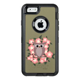 owl bird on a cherry tree OtterBox defender iPhone case