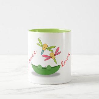 Owl Bird Peas Pod Cute Dragonflies Fall Peace Love Two-Tone Coffee Mug