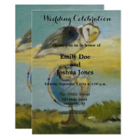owl bird wildlife painting art wedding invitation