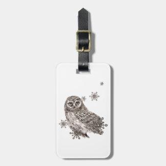 Owl Bird Winter Snowflakes Nature Art Bag Tag
