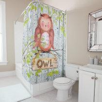 Owl Bird Woodland Friends Watercolor illustration Shower Curtain