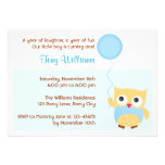 Owl Birthday Invitation for Boys (Blue)