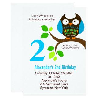Owl Birthday Invitation for Boys Blue/Green