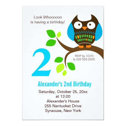 Owl Birthday Invitation for Boys Blue/Green