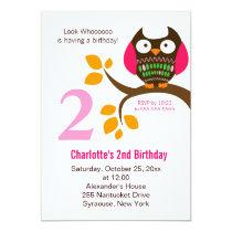 Owl Birthday Invitation for Girls Orange/Pink
