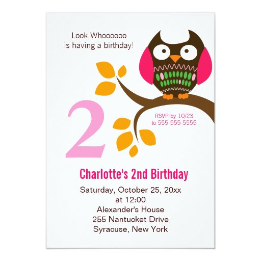 Owl Birthday Invitation for Girls Orange/Pink