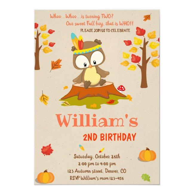 Owl birthday invitation Owl invitation Fall boy