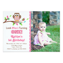Owl Birthday Invitation Pink Girl 1st Invite