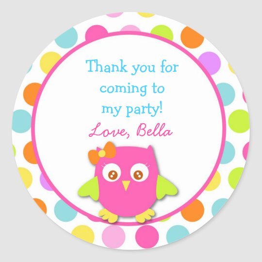 Owl Birthday Party Favor Stickers