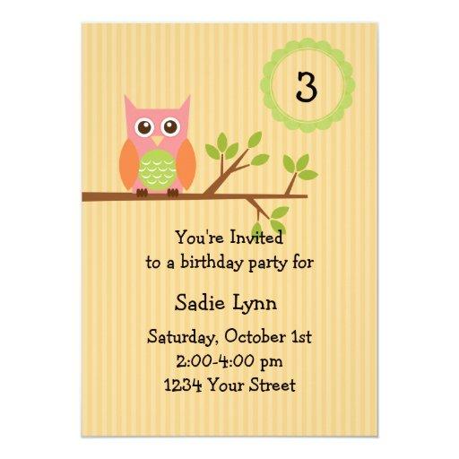 "Owl birthday party invitation (#INV004) 5"" X 7"" Invitation Card"