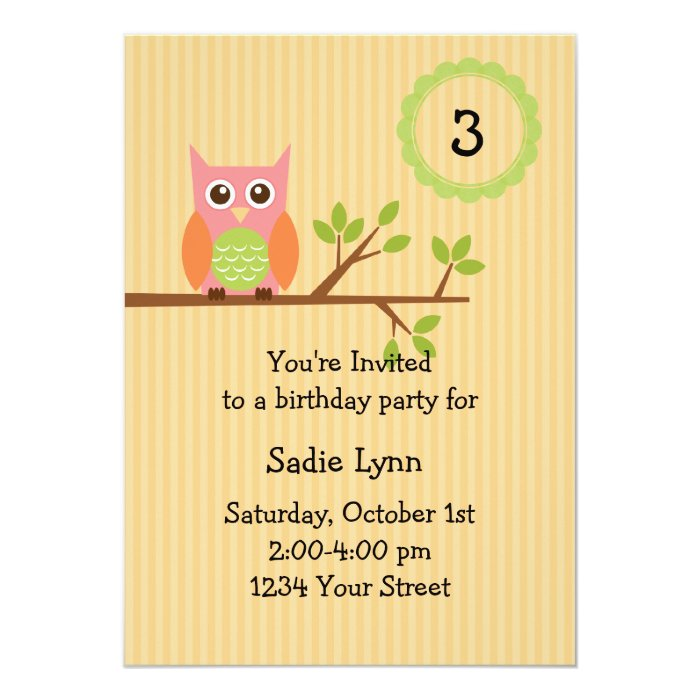 Owl birthday party invitation (#INV004)