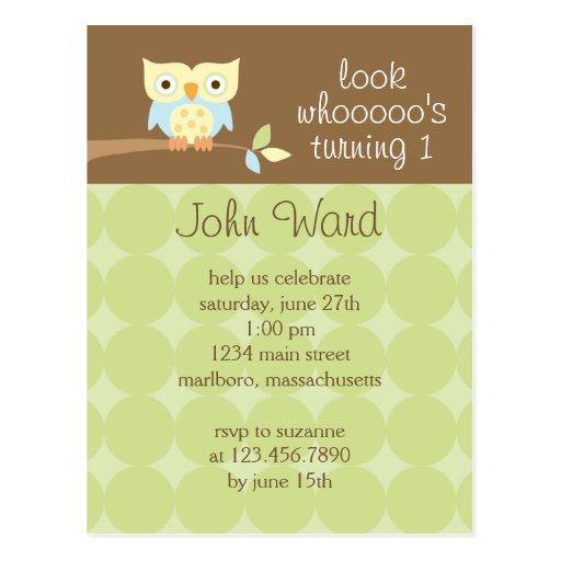 Owl Birthday Party Invitation Post Card