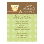Owl Birthday Party Invitation Post Card
