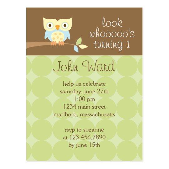 Owl Birthday Party Invitation Postcard