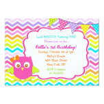 "Owl Birthday Party Invitations 5"" X 7"" Invitation Card"