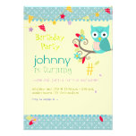 Owl, birthday party invitations