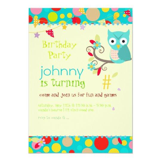 owl, birthday party invitations/diy background card  zazzle, Birthday invitations