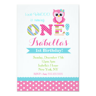 Owl Birthday Party Invitations For