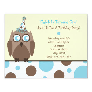"Owl Birthday Party Invite Blue & Brown Polka Dots 4.25"" X 5.5"" Invitation Card"