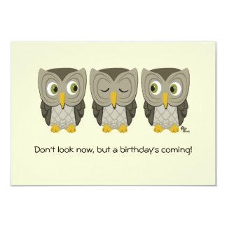 "Owl Birthday Party Invite 3.5"" X 5"" Invitation Card"