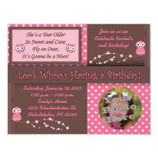 Owl Birthday Photo Invitations