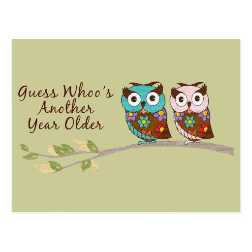 Owl Birthday Postcard