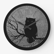 Owl Black and Silver Large Clock