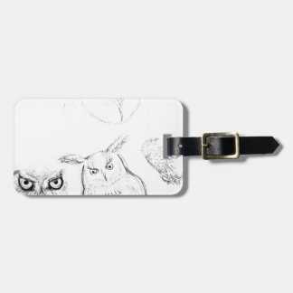 Owl Black and White Drawing Montage Bag Tag