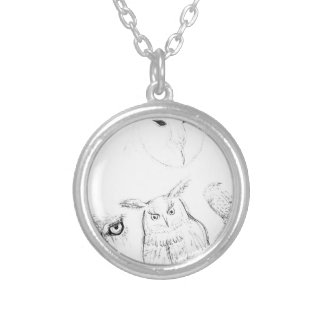 Owl Black and White Drawing Montage Silver Plated Necklace