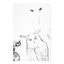 Owl Black and White Drawing Montage Stationery