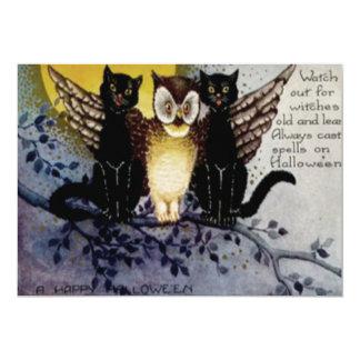 Owl Black Cat Full Moon Tree Night Card