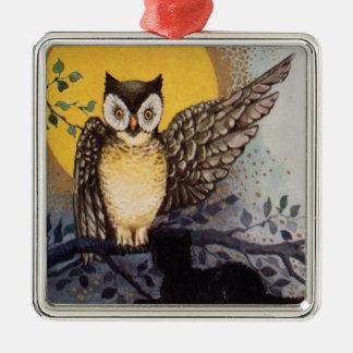 Owl Black Cat Full Moon Tree Night Metal Ornament