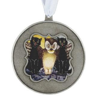 Owl Black Cat Full Moon Tree Night Ornament