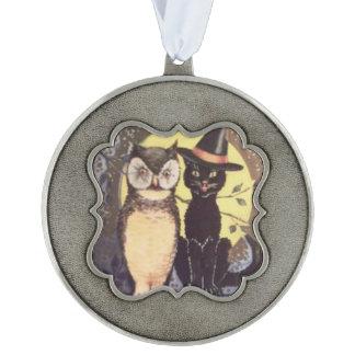Owl Black Cat Full Moon Tree Night Pewter Ornament