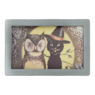 Owl Black Cat Full Moon Tree Night Rectangular Belt Buckle