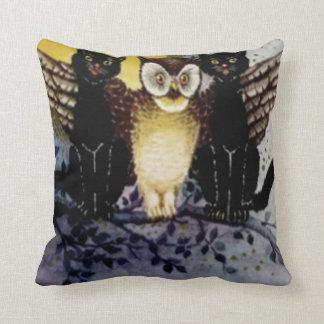 Owl Black Cat Full Moon Tree Night Throw Pillows