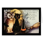 Owl Black Cat Full Moon Witch's Hat Broom Card