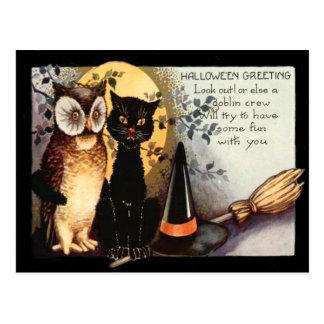 Owl Black Cat Full Moon Witch's Hat Broom Postcard