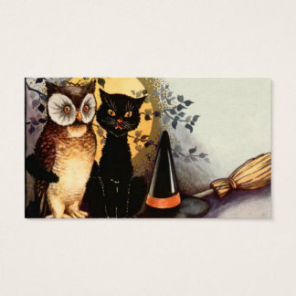 Owl Black Cat Full Moon Witch's Hat Business Card