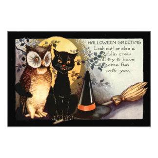 Owl Black Cat Full Moon Witch's Hat Photo Print