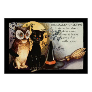 Owl Black Cat Full Moon Witch's Hat Poster