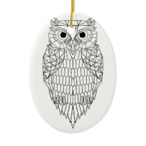 Owl Black & White Ceramic Ornament