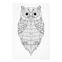 Owl Black & White Stationery