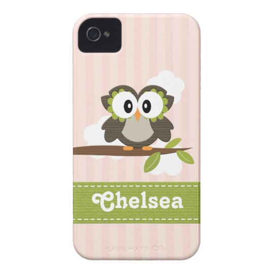 Owl BlackBerry Bold Case Mate Cover Pink