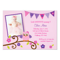 Owl Blossom Birthday Invitations