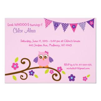 Owl Blossom Birthday Invitations